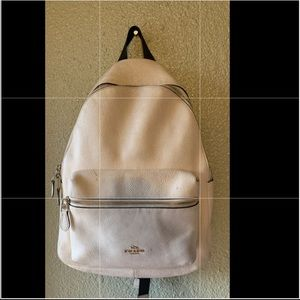 coach pearl white backpack